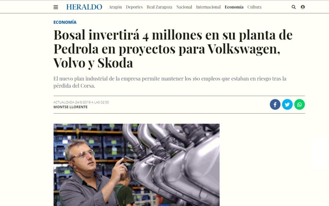 Bosal invertirá 4 millones en su planta de Pedrola en proyectos para Volkswagen, Volvo y Skoda