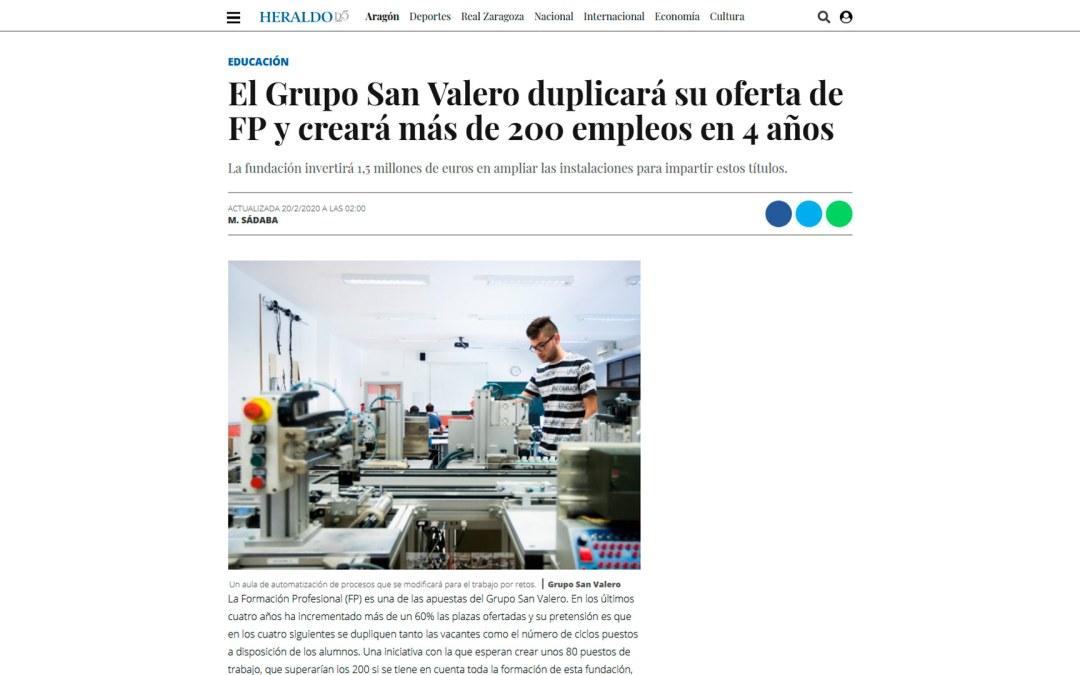 El Grupo San Valero duplicará su oferta de FP y creará más de 200 empleos en 4 años