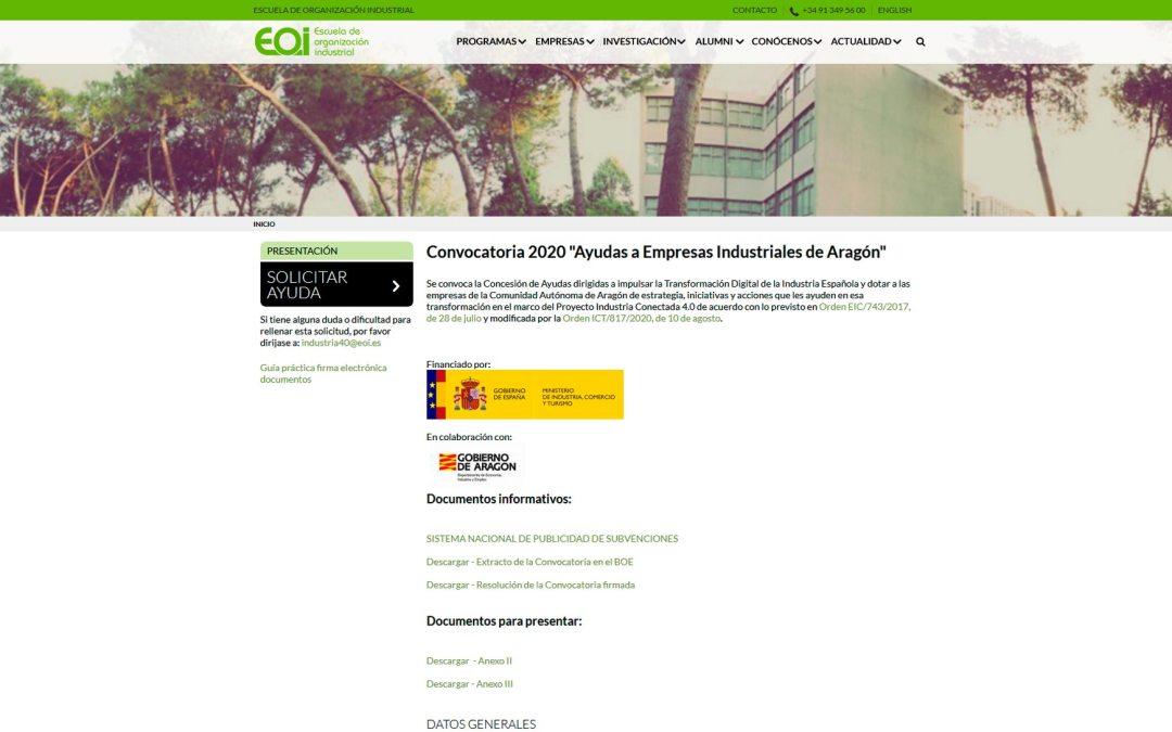 """Convocatoria 2020 """"Ayudas a Empresas Industriales de Aragón"""""""