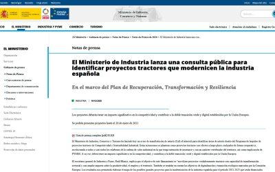 El Ministerio de Industria lanza una consulta pública para identificar proyectos tractores que modernicen la industria española