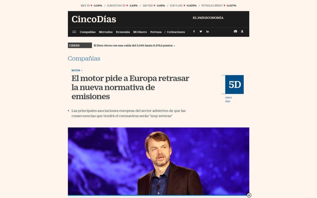 El motor pide a Europa retrasar la nueva normativa de emisiones