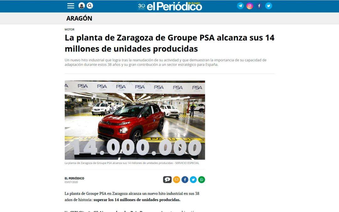 La planta de Zaragoza de Groupe PSA alcanza los 14 millones de unidades producidas