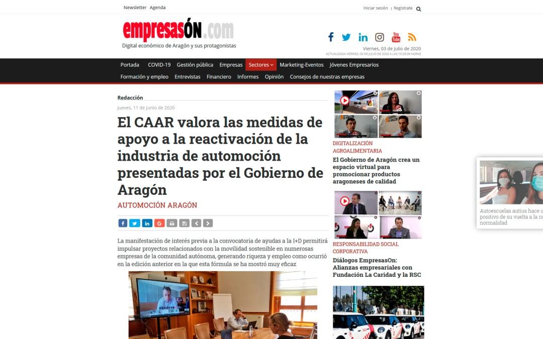 El CAAR valora las medidas de apoyo a la reactivación de la industria de automoción presentadas por el Gobierno de Aragón