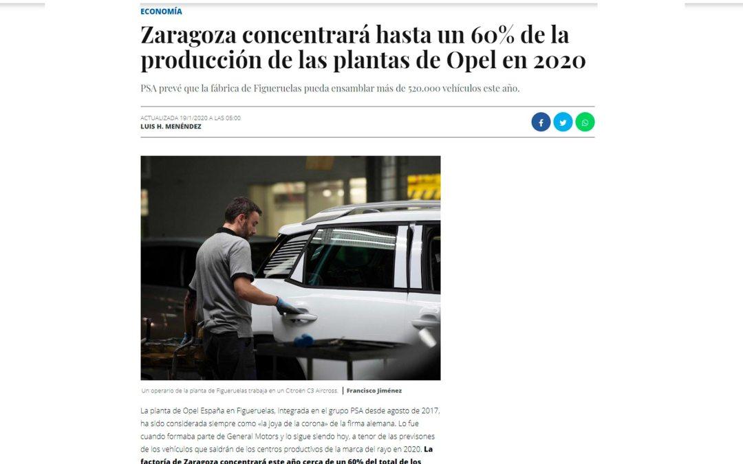 Zaragoza concentrará hasta un 60% de la producción de las plantas de Opel en 2020