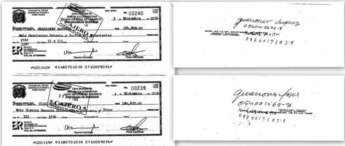 cheques Guarionex Sanchez
