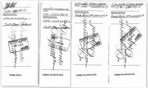 cheque del abogado de Canoa con firmas diferentes