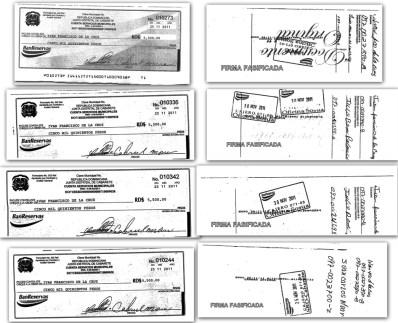 Cheques Ivan Francisco de la Cruz con firmas falsificadas