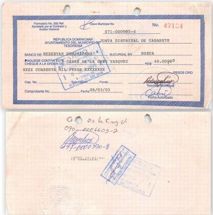 Primero pago de rd 40,000 por compra gallera por ayuntamiento de Cabarete