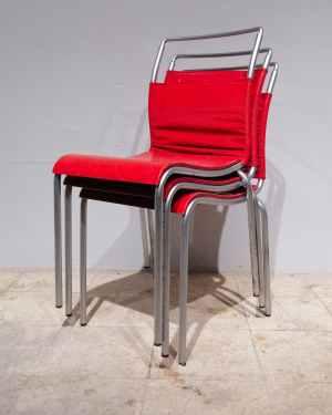 Lot de 4 cadires de segona mà fetes de fusta i lona en venda a cabauoportunitats.com Balaguer - Lleida - Catalunya