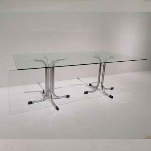 Taula de vidre i potes d'inox de segona mà en venda a cabauoportunitats.com Balaguer - Lleida - Catalunya