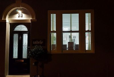 Evening shot of the frontage of Cabelo