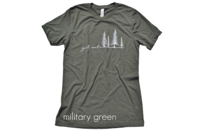 military green t-shirt that reads Get Out with tree illustrations