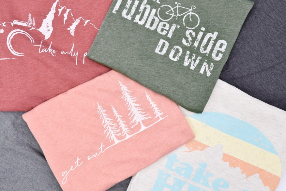 group of various folded t-shirts