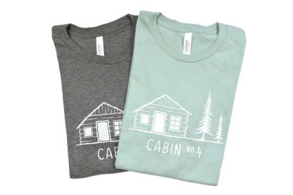 Two Cabin No. 4 logo tees - grey and dusty blue colors