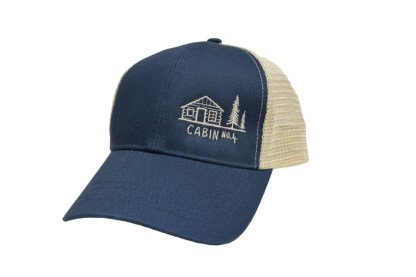 Navy and oyster mesh back trucker hat with Cabin No. 4 logo