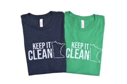 """Keep MN Clean t-shirt - navy and green t-shirts that have outline of the state of Minnesota with """"Keep it Clean"""""""