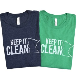 "Keep MN Clean t-shirt - navy and green t-shirts that have outline of the state of Minnesota with ""Keep it Clean"""