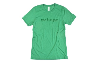 "tree hugger t-shirt - green t-shirt that has two pine trees with ""tree hugger"""
