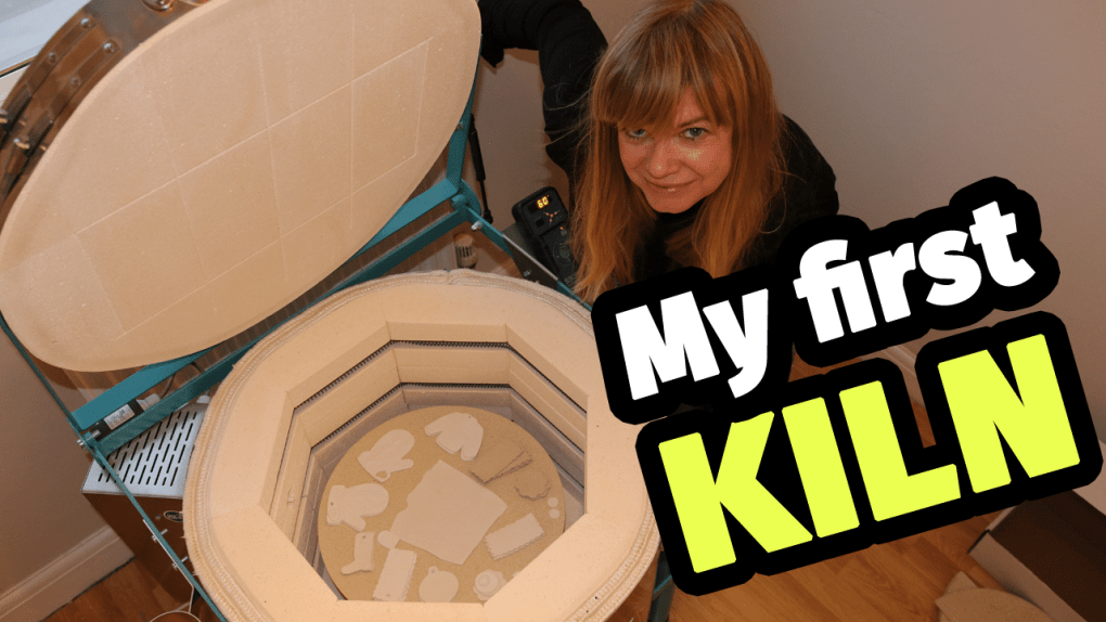 Lisa, of Cabin Ceramics, proudly showing off her new home kiln