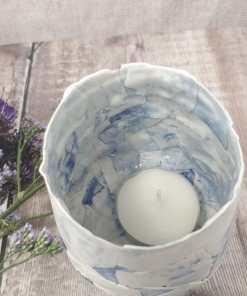 Patchwork blue porcelain tealight holder