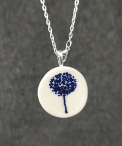 Ceramic pendant with blue tree design