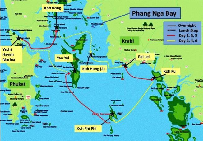 Phuket, thailand Sail itinerary