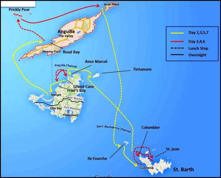 Itinerary, St. Martin, Caribbean Sailing