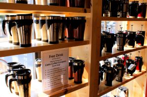 Our La Crosse store has such beautiful windows to display the many options of presses and travel mugs we have.
