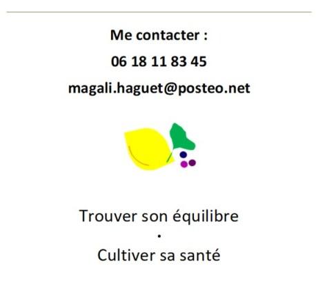 Zone de Texte: Me contacter : 06 18 11 83 45 magali.haguet@posteo.net     Trouver son équilibre • Cultiver sa santé