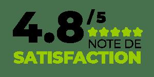 note de satisfaction de 4,8 sur 5 en accompagnement