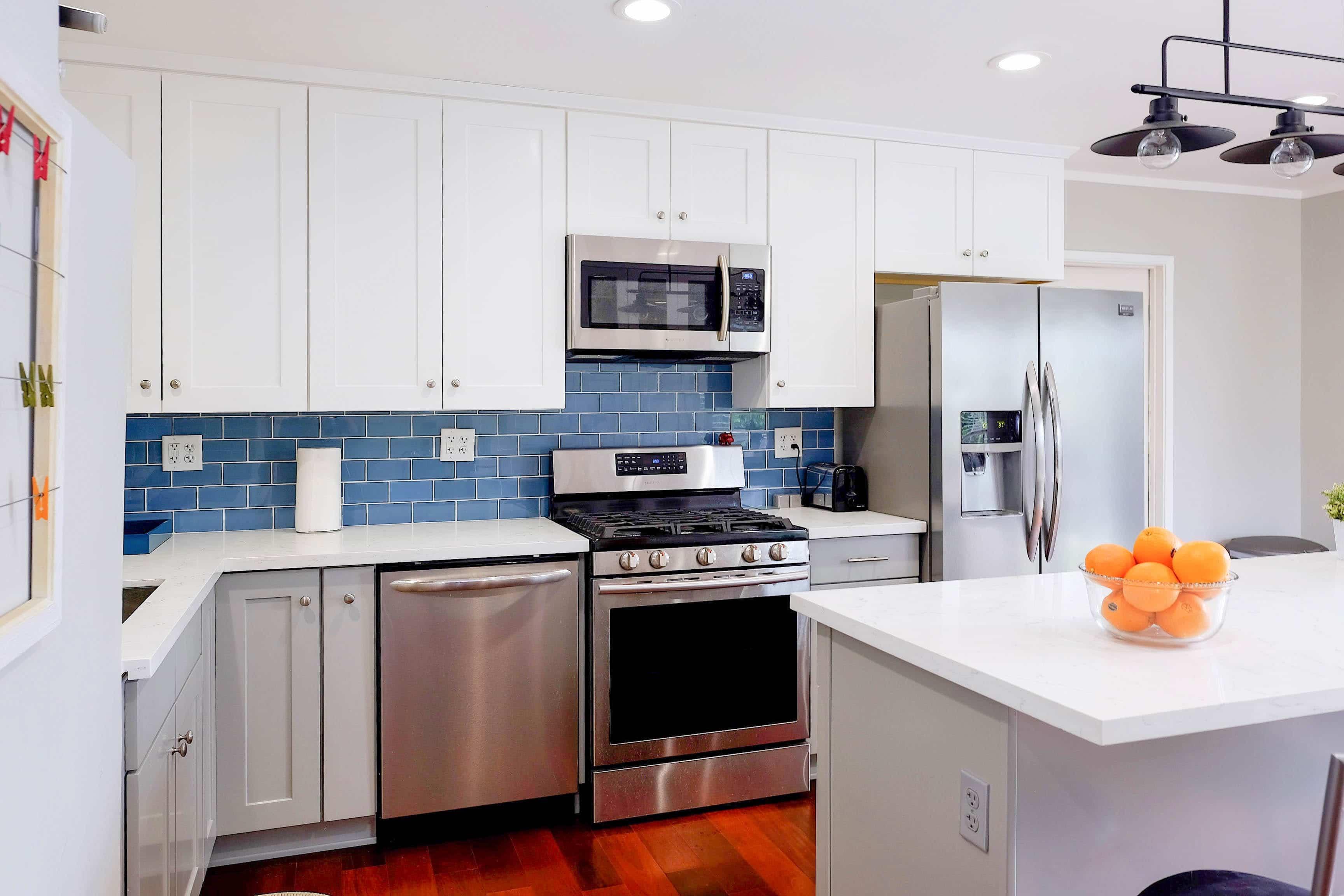White Kitchen With Blue Glass Tile Backsplash Novocom Top