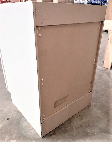 Three Drawer Cabinet Unit Drawer in White Backside