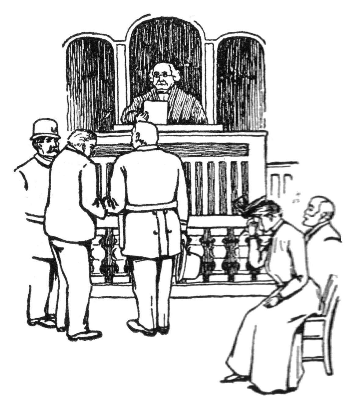 There's a speedy trial, and a verdict read, And a wife that weeps as the doom is said,