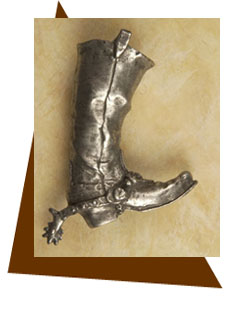 Anne at Home Fancy Western Cowboy Boots with Spurs Cabinet Knob /Left