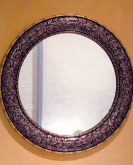 Susan Goldstick Decorative Mirror - Aurora Mirror-Shell/Amethyst/Jade