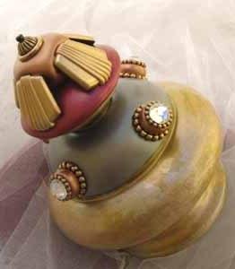 Susan Goldstick Finials Banister Ball Tut-Deep Opal/Ruby/Amber