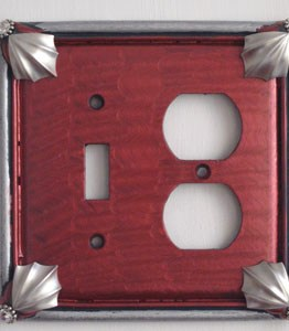 Susan Goldstick Decorative Outlets Cleo Toggle/Duplex - Ruby/Silver