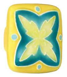 Acorn Manufacturing Ceramic Square Yellow & Teal Design Cabinet Knob