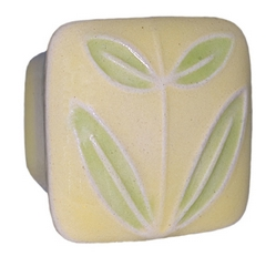 Acorn Manufacturing Small Square Yellow Green Leaves Cabinet Knob