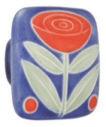 Acorn Manufacturing Large Square Blue Flower Two Berries Cabinet Knob