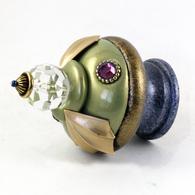 Susan Goldstick Finial Birdie Jade Light Sapphire Finial Swarovski Crystals