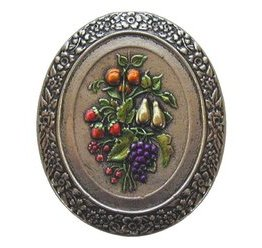 Notting Hill Cabinet Knob Fruit Bouquet Brite Nickel Hand Tinted