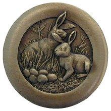 "Notting Hill Hardware Rabbits Antique Brass 1-3/8"" diameter"