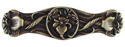 Notting Hill Cabinet Pull River Iris Antique Brass