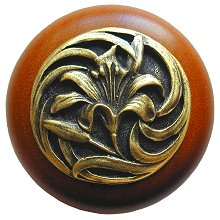 Notting Hill Cabinet Knob Tiger Lily/Cherry Antique Brass