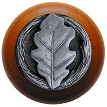 Notting Hill Cabinet Knob Oak Leaf/Cherry Antique Pewter