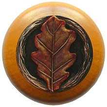 Notting Hill Cabinet Knob Oak Leaf/Maple Brass Hand Tinted