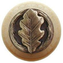 Notting Hill Cabinet Knob Oak Leaf/Natural Antique Brass