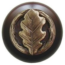 Notting Hill Cabinet Knob Oak Leaf/Dark Walnut Antique Brass