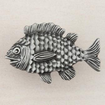 Acorn Manufacturing Fun Fish Cabinet Knob Antique Pewter